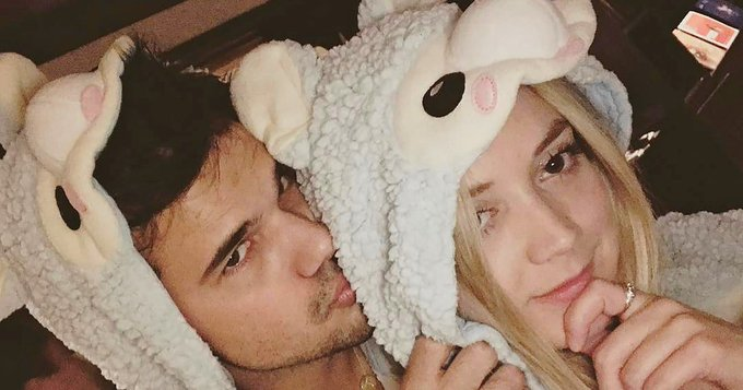 Billie Lourd and Taylor Lautner wear matching onesies as she wishes him a happy birthday: