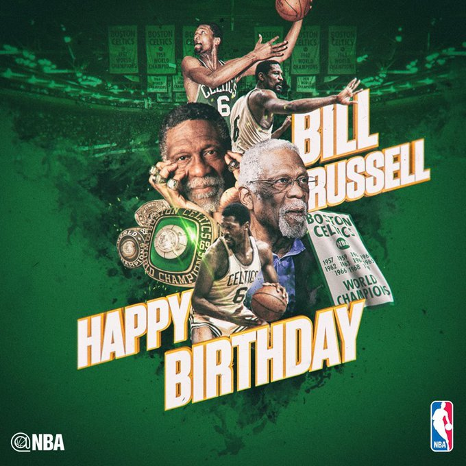 Happy Birthday to the 12-Time NBA All-Star, 11-Time NBA Champion, & 5-Time NBA MVP, Bill Russell!