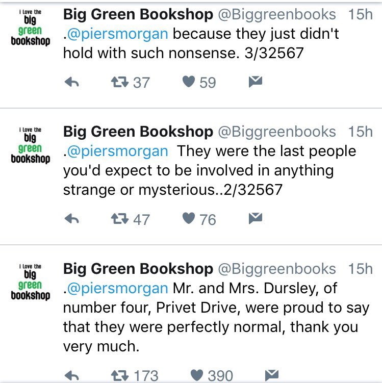 If you're looking for reasons to love Twitter, there's a bookshop currently tweeting an entire Harry Potter novel at Piers Moron.