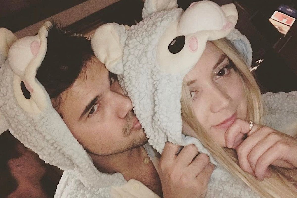 Billie Lourd and Taylor Lautner wear matching onesies as she wishes him a happy birthday -