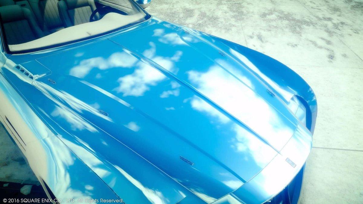 レガリアの色をスターブライトシルバーにしたら鏡のように空模様が写し出されていて感動🌟 #PS4share #FFXV