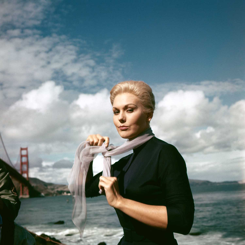 Wishing a happy birthday to Kim Novak, here on location in San Francisco for VERTIGO (1958).