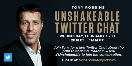 Join me for live Twitter Chat (Wednesday 2/15) about the path to financial freedom - use #UNSHAKEABLE to join the conversation. #twitterchat https://t.co/EYzWX2j78j