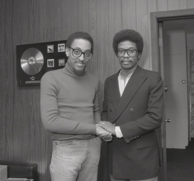 Happy birthday, Gregory Hines (February 14, 1946 - August 9, 2003).  Here with Herbie Hancock in 1979.