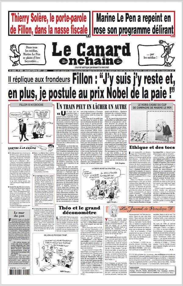 La Une du Canard du 15 février : Solère & Le Pen.