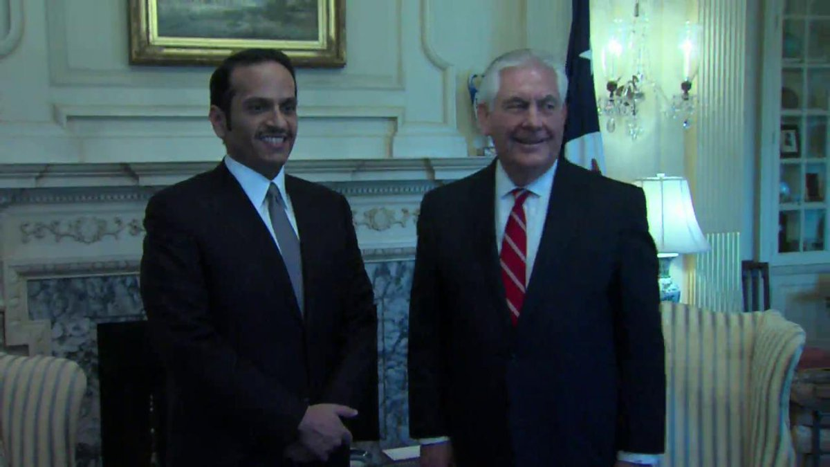 Secretary Tillerson welcomes @MBA_AlThani_, the Foreign Minister of #Qatar, to @StateDept.