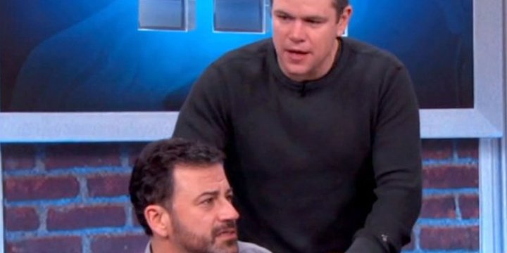 Watch Matt Damon and Jimmy Kimmel get a big surprise in their latest on-air battle
