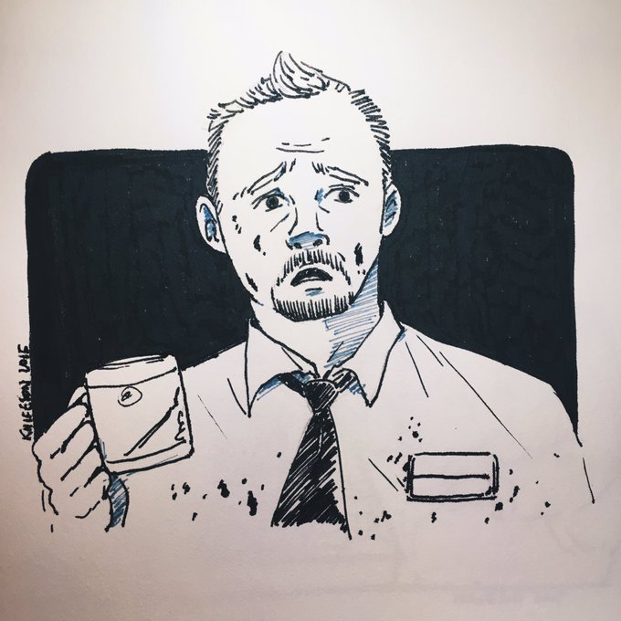 Throwback this doodle of Shaun of the Dead, happy birthday Simon pegg