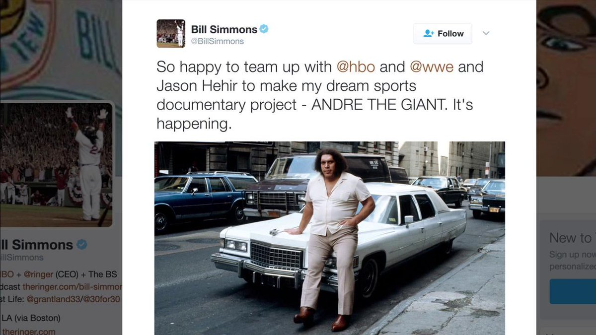 RT if you're excited for the upcoming Andre The Giant documentary project by @BillSimmons, @HBO & @WWE! #SDLive