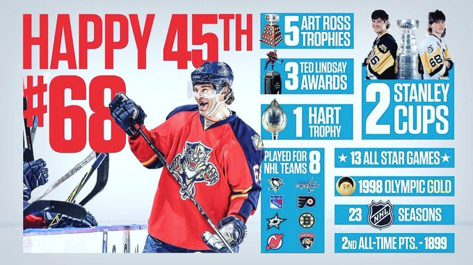 Happy 4  5  Birthday to Jaromir Jagr. This guys salad will be a first ballot HOF entry
