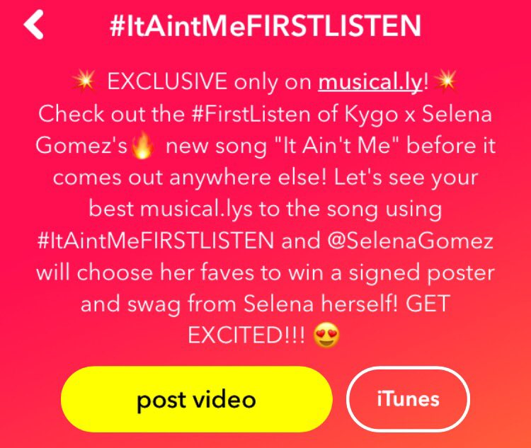 Head over to @musicallyapp and create those #ItAintMe videos! You might get some goodies from Sel :) https://t.co/ExoJXPLVGT