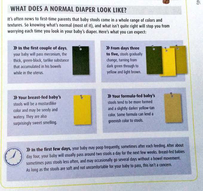 @trishstratuscom: Important poop facts! Here's your color swatch guide to a newborns poop from The Pregnancy Encyclopedia #babyfacts https://t.co/UjgMcUEKKr