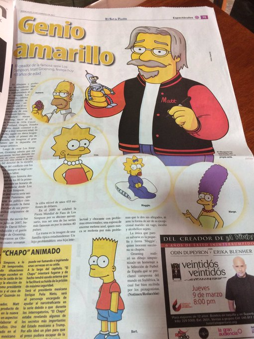 Happy Bday 4 the one & only Matt Groening. Thanks 4 Today printing on