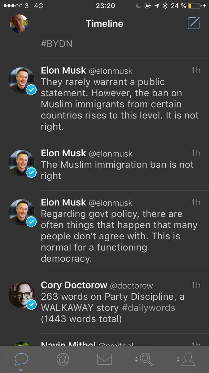 Såg dessa tweets av @elonmusk och gick in på hans profil för att kolla närmre. Då var de borta.