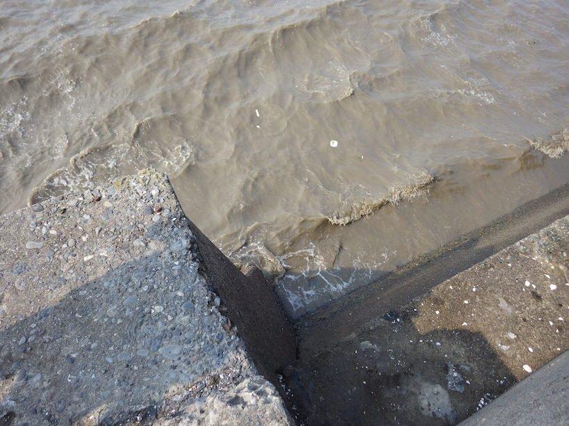 満潮で泥が懸濁する有明海(汚れているのではありません、粒子の細かい泥が6 mもの干満差で巻き上がる)。日本では有明海でしか見られない光景。この海で豊穣な生物が育まれてきました。 #九州への旅 #有明海 #福岡