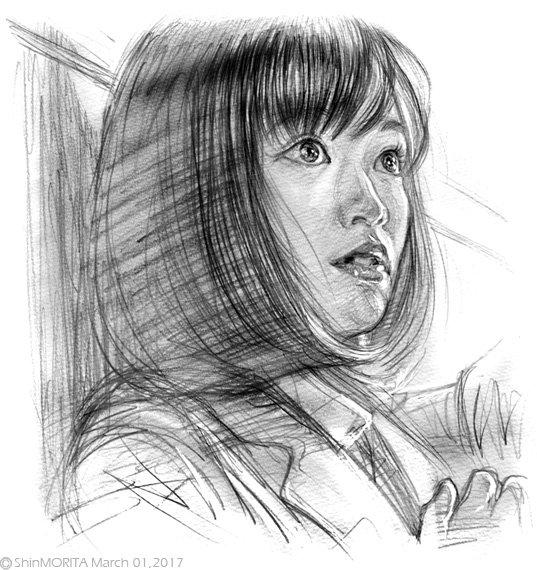 大原櫻子さんを描きました。#大原櫻子 #ソフトバンク #SoftBank #SuperStudent