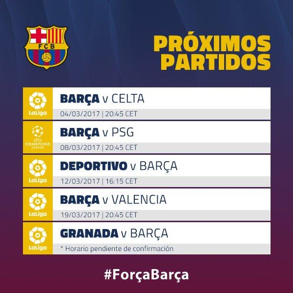 📅 🔜 Échale un vistazo al calendario y apúntate los siguientes partidos del Barça #FCBlive #ForçaBarça 🔴🔵