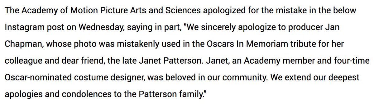 Academy apologies for In Memoriam Oscars snafu