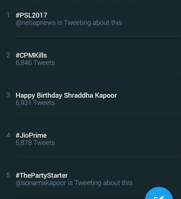 It is Now Trending Worldwide at 3rd Position Happy Birthday Shraddha kapoor