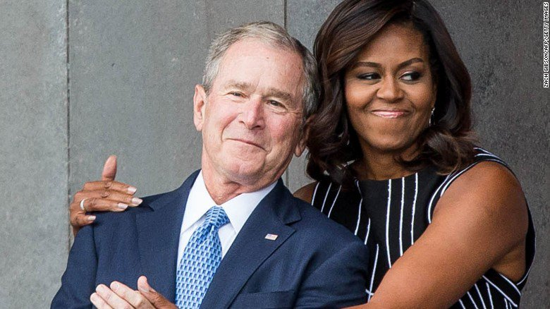 """We just took to each other"": George W. Bush explains his fondness for Michelle Obama"