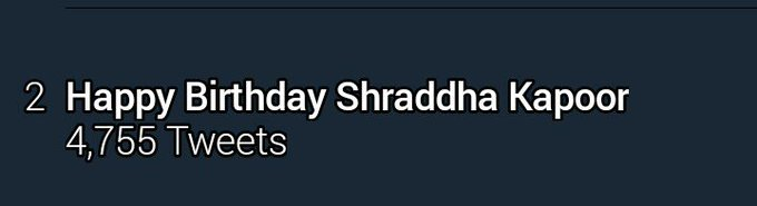 Woow guys  Happy Birthday Shraddha Kapoor is trending on 2nd position