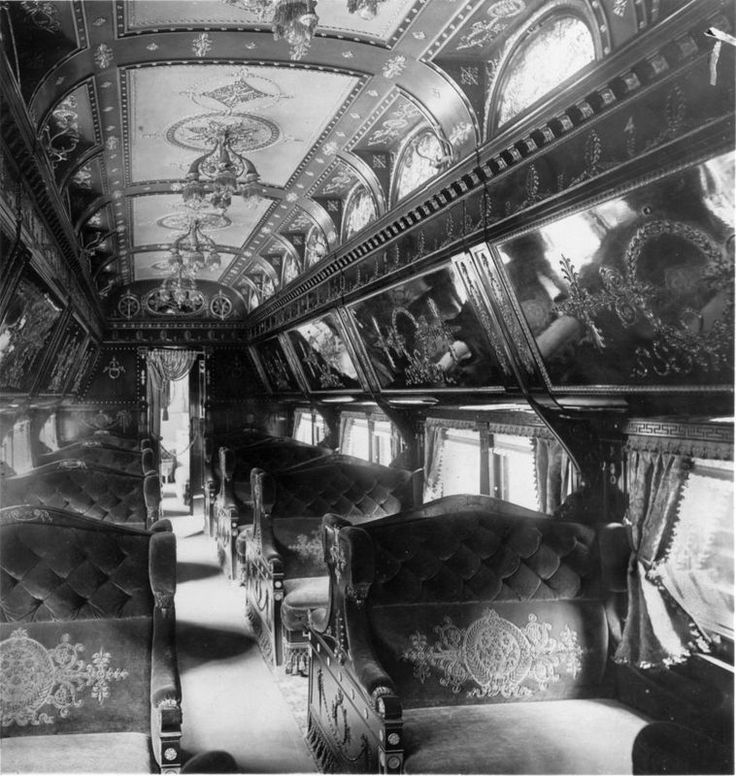 Beveled mirrors, ornate carvings, and polished brass were the hallmarks of travel in a Pullman parlor car. 1893.