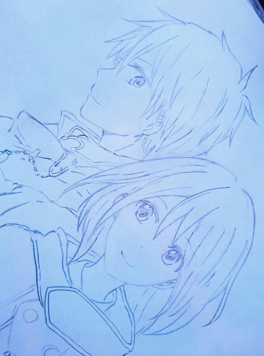 力尽きた_(:3>∠)_久々に一枚の紙に二人描いたよ#赤髪の白雪姫