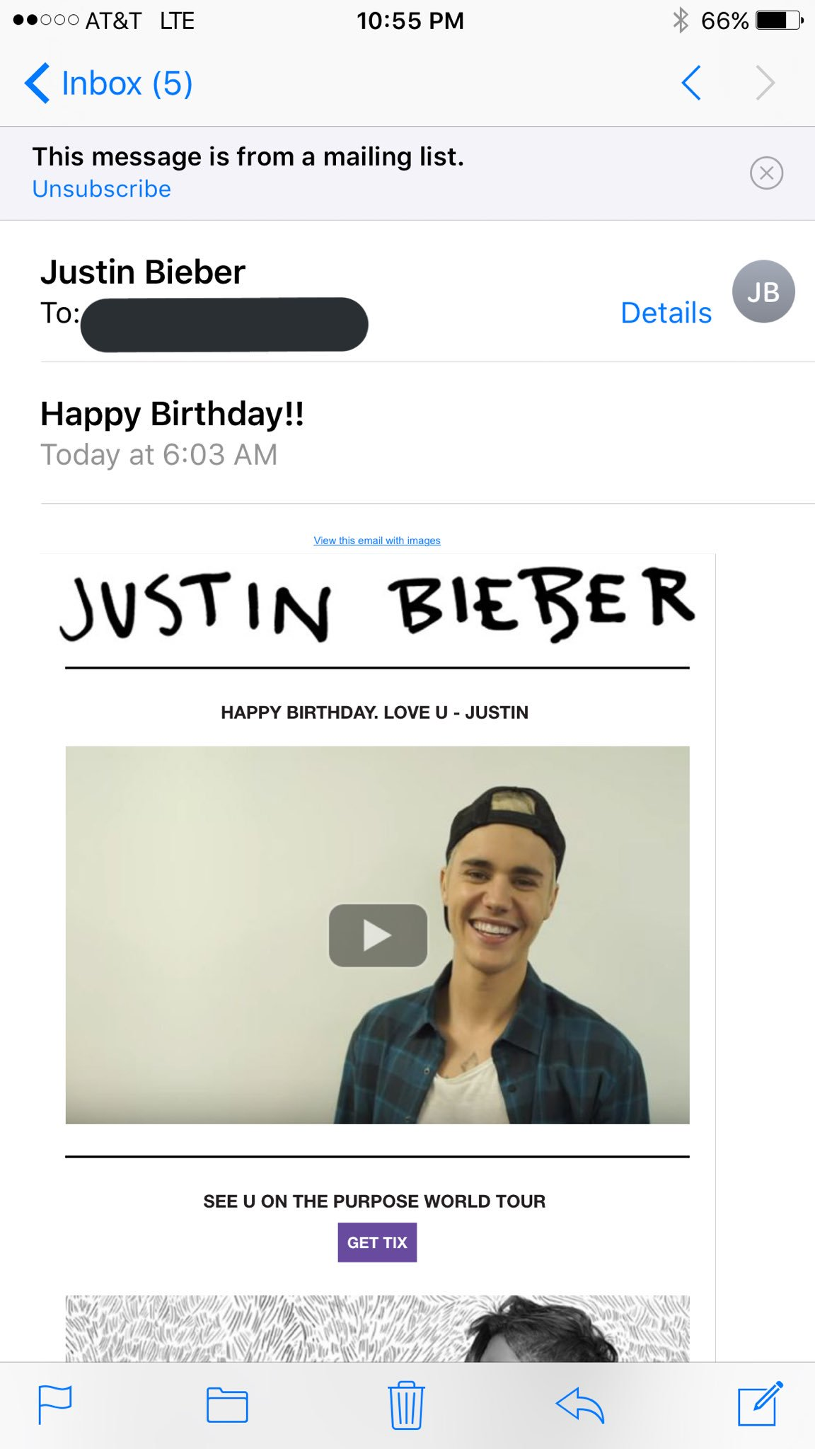 "My mom was like ""Justin Bieber said Happy Birthday to you!\"""