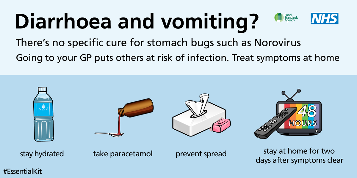 If you've got sickness and diarrhoea, stay hydrated. Don't see your GP unless symptoms persist more than a few days: https://t.co/TMo6tmiBLo