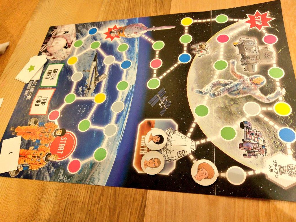 #宇宙兄弟 ボードゲーム、宇宙の方を途中から遊ばせていただきましたが、作中の世界観がたっぷりでルールも簡単、『皆で』なス