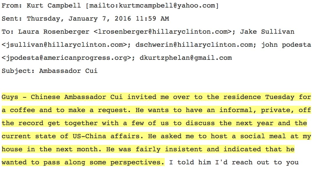 Chinese ambassador 'private, off the record' set up for meeting with Clinton campaign during run up to US election https://t.co/fLDCvJkrjT