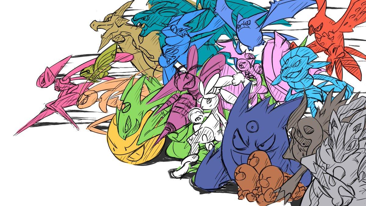タイプ別最速ポケモン描いた!本格的に塗るかわからないから取り敢えずこれで完成〜#pokemon