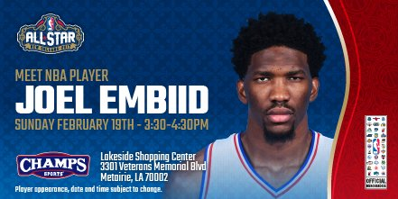 In New Orleans?  Come meet @JoelEmbiid of the @Sixers at @champssports today! https://t.co/nQdPLUIKM3