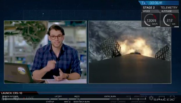 Falcon 9 first stage entry burn underway https://t.co/gtC39uBC7z