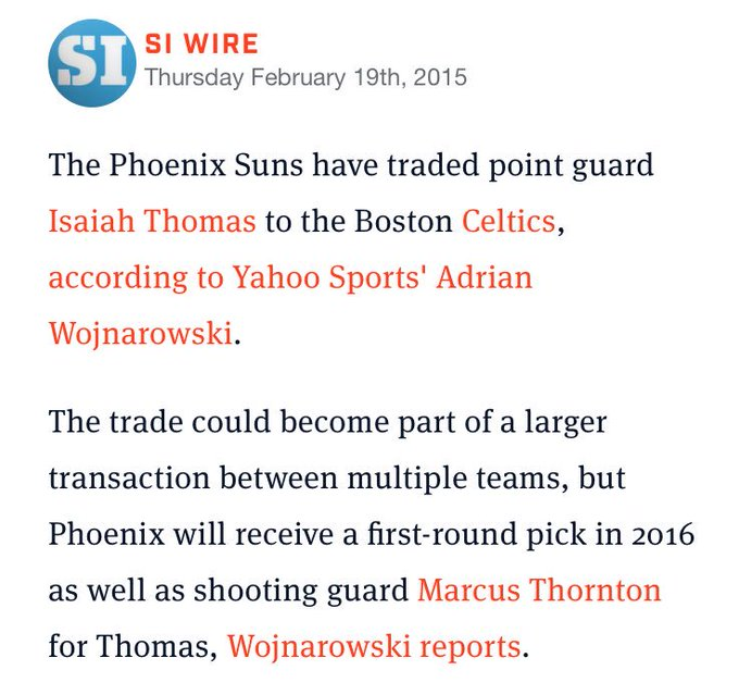 Two years ago today, Danny Ainge traded spare parts to the Suns in exchange for Isaiah Thomas, who is now averaging 29.9 points per game...