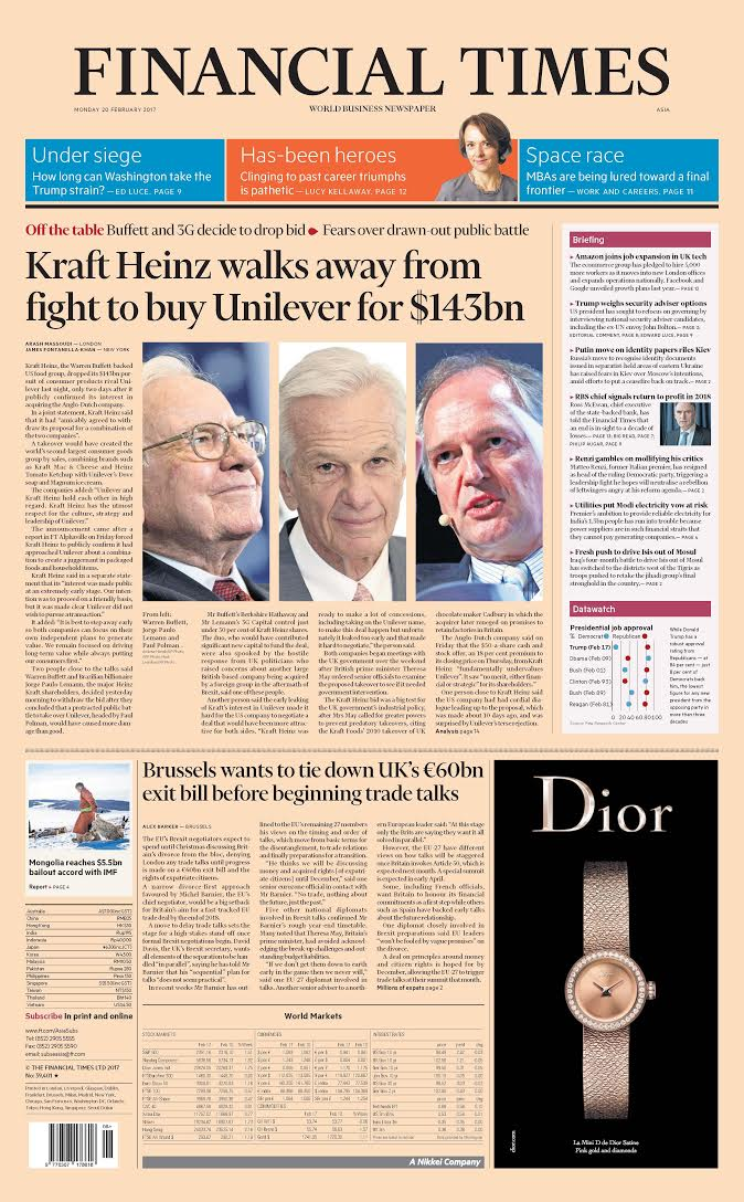 Front page of Financial Times international edition for Monday 20th February 2017 https://t.co/pPkvfFZMiu