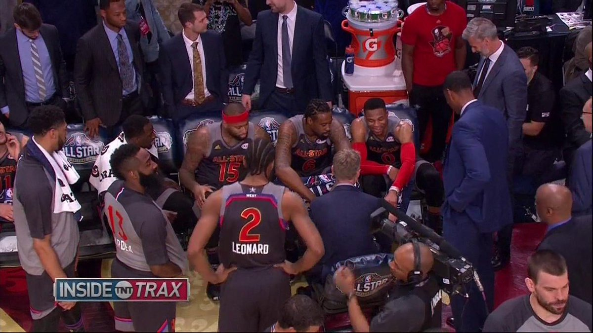 Coach Kerr letting #RussellWestbrook draw up some plays 😂 #NBAAllStar