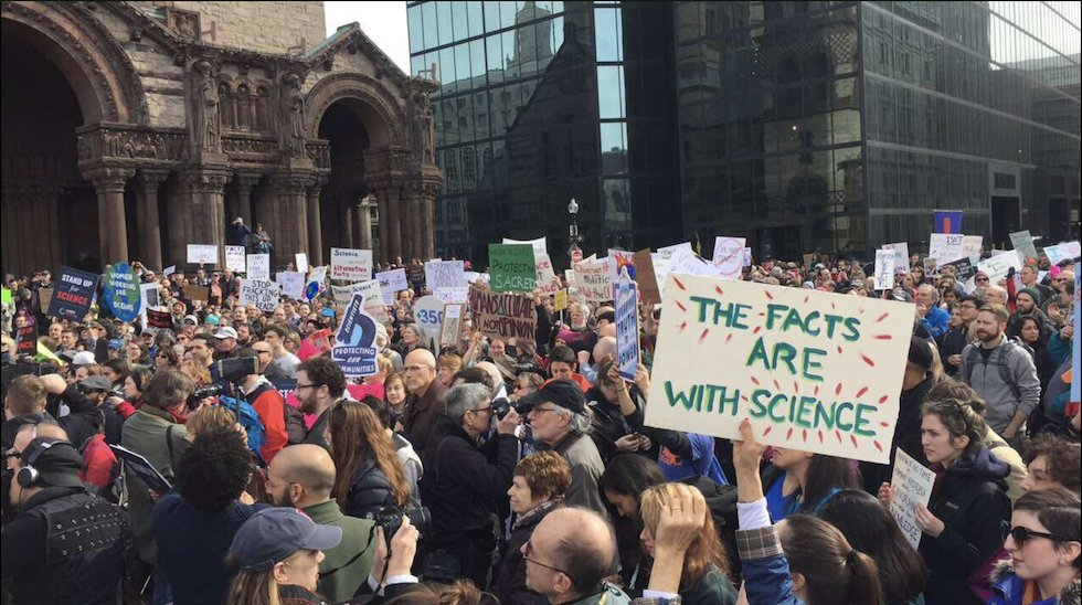 """Hundreds rally against Trump policies in """"stand up for science"""" protest"""