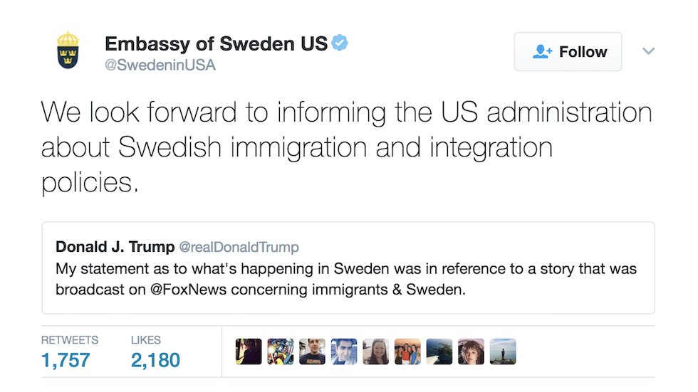 Sweden trolls Trump with offer to teach him country's immigration policy