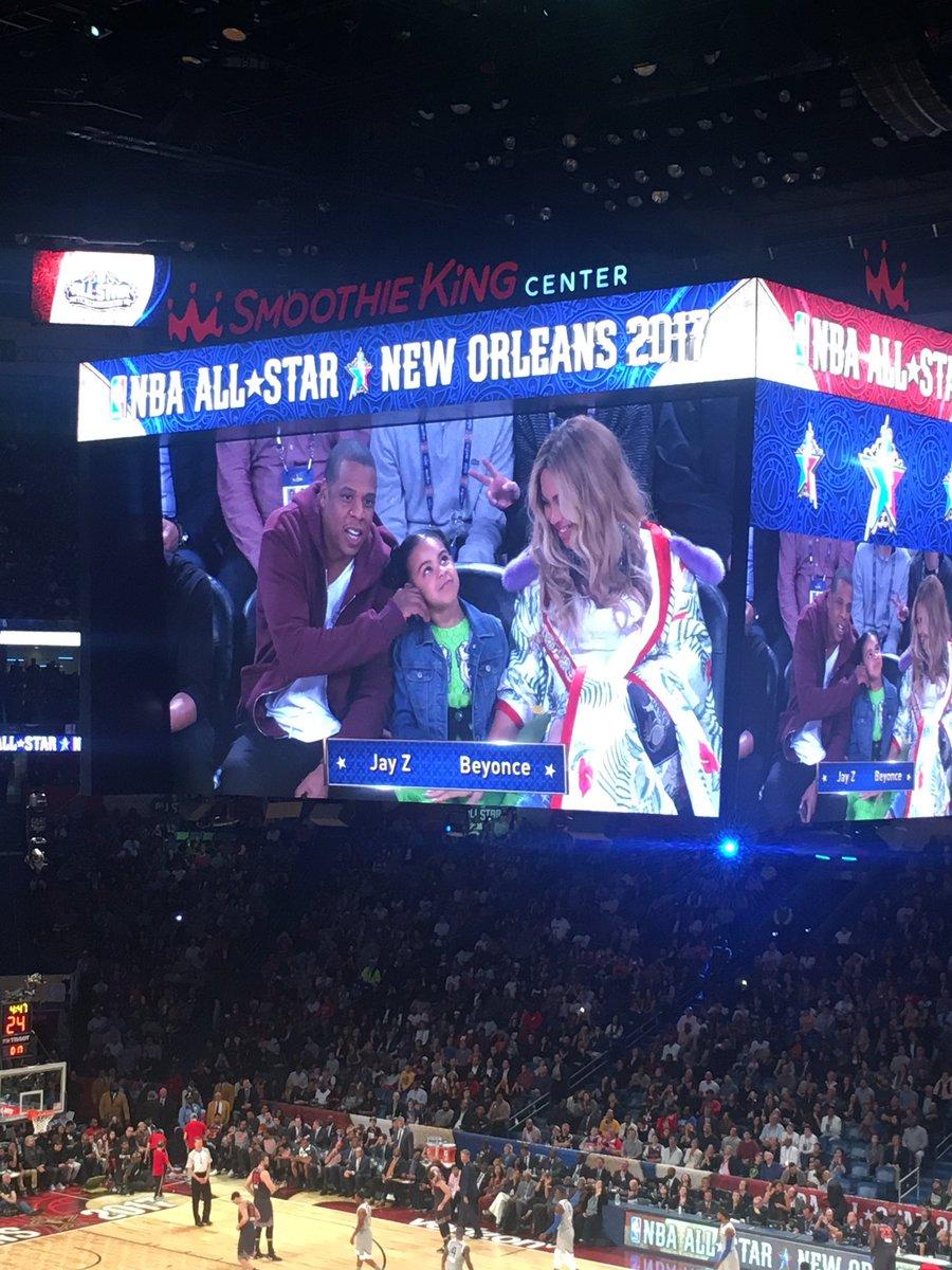 Jay Z x Blue Ivy x Beyoncé@NBA #AllStarGame #NOLA2017