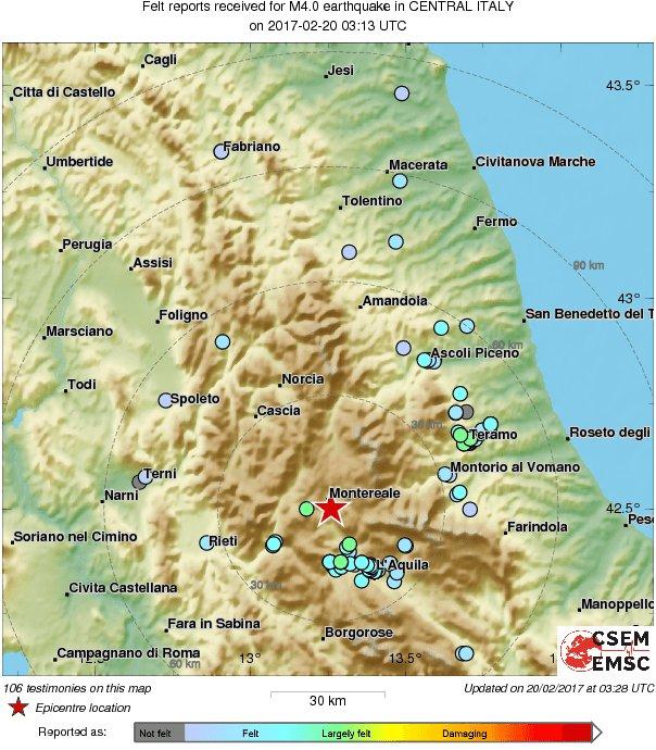 Aquila Italy Map.M4 0 Earthquake Terremoto Strikes 20 Km Nw Of L Aquila Italy
