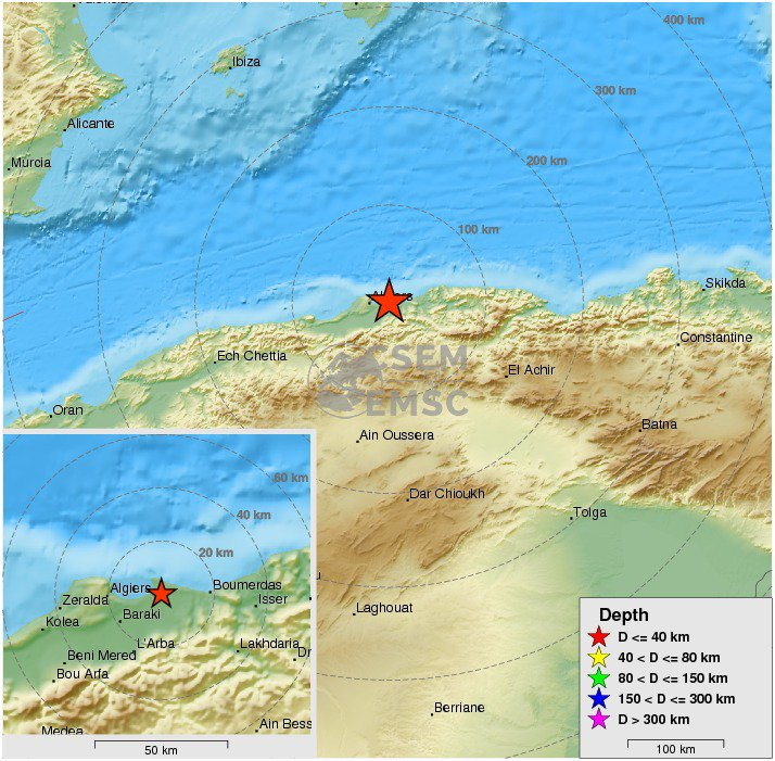Felt #earthquake M3.7 strikes 20 km E of #Algiers (#Algeria) 34 min ago. Please report to: https://t.co/WO37pypZoX