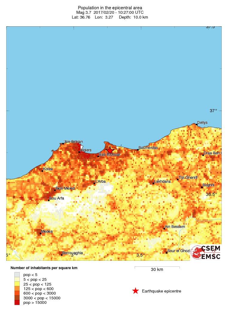 Estimated population in the felt area: 2.8 millions inhabitants