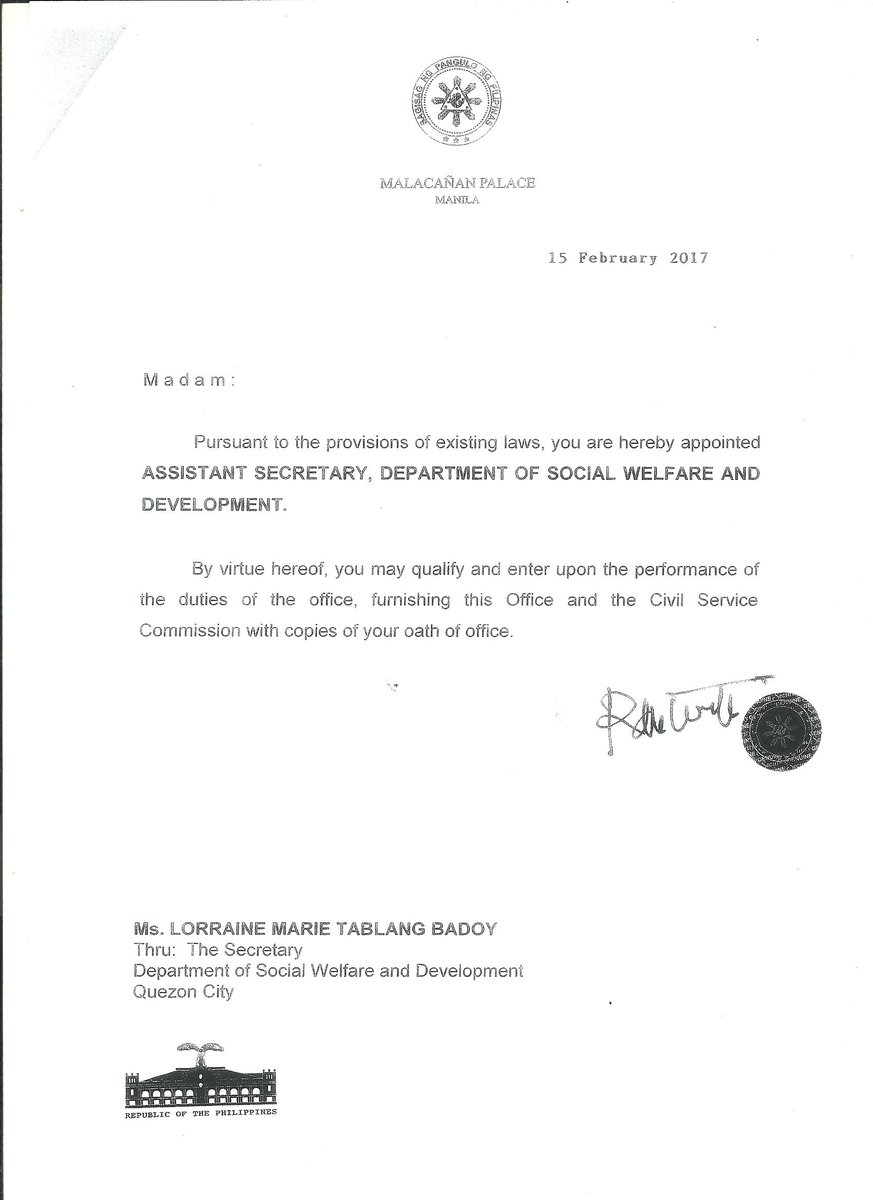 signed appointment letter of ms lorraine badoy as dswd signed appointment letter of ms lorraine badoy as dswd assistant secretary