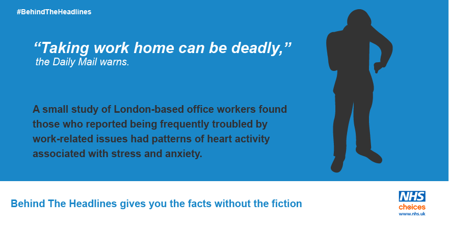 Worrying about work out-of-hours 'may be bad for the heart'. More from #BehindTheHeadlines here: https://t.co/feSWwkX0gX
