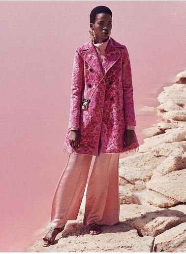 Get blown away by this #SS17 look by #PierpaoloPiccioli shot by a pink lake: @harpersbazaarus. Model: @Aamito_lagum https://t.co/ijG8AZCUrL