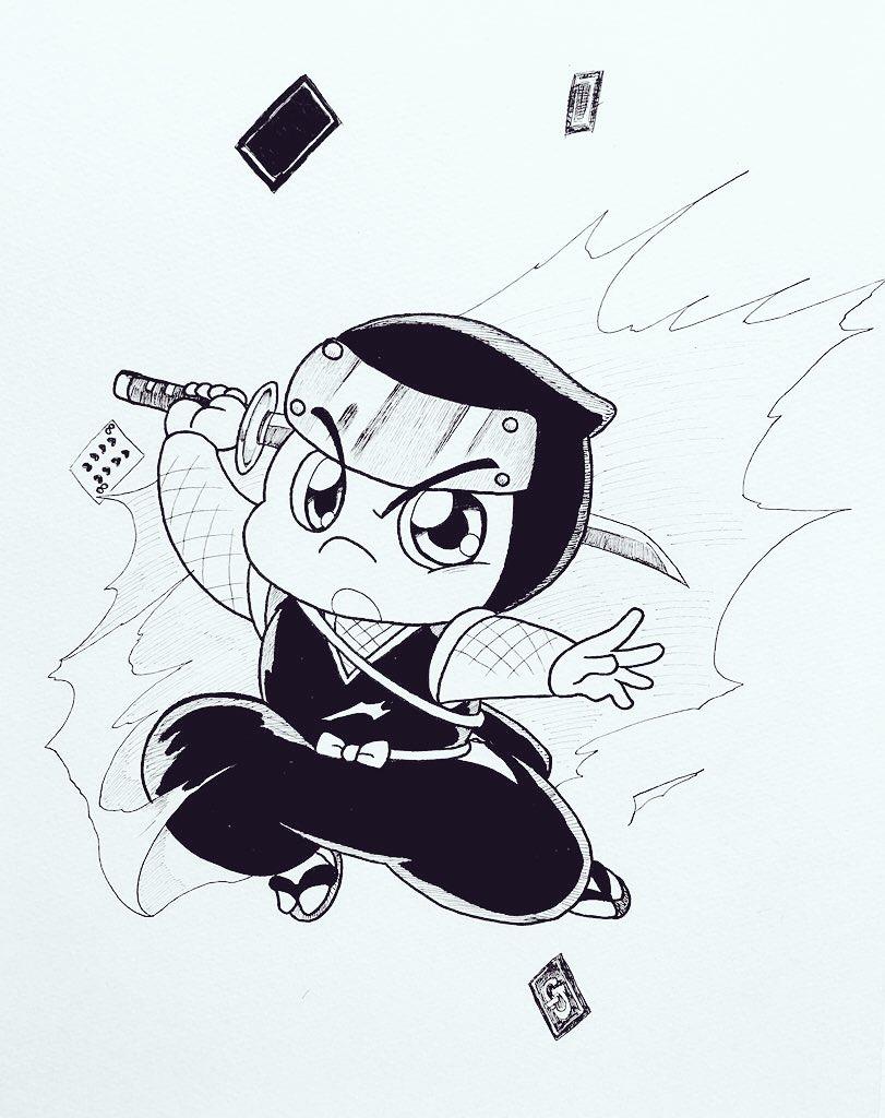 忍者の日らしいので、怪盗ジョーカーの推しくんを描かねばなるまい‼︎ ハチ〜♡ #忍者の日