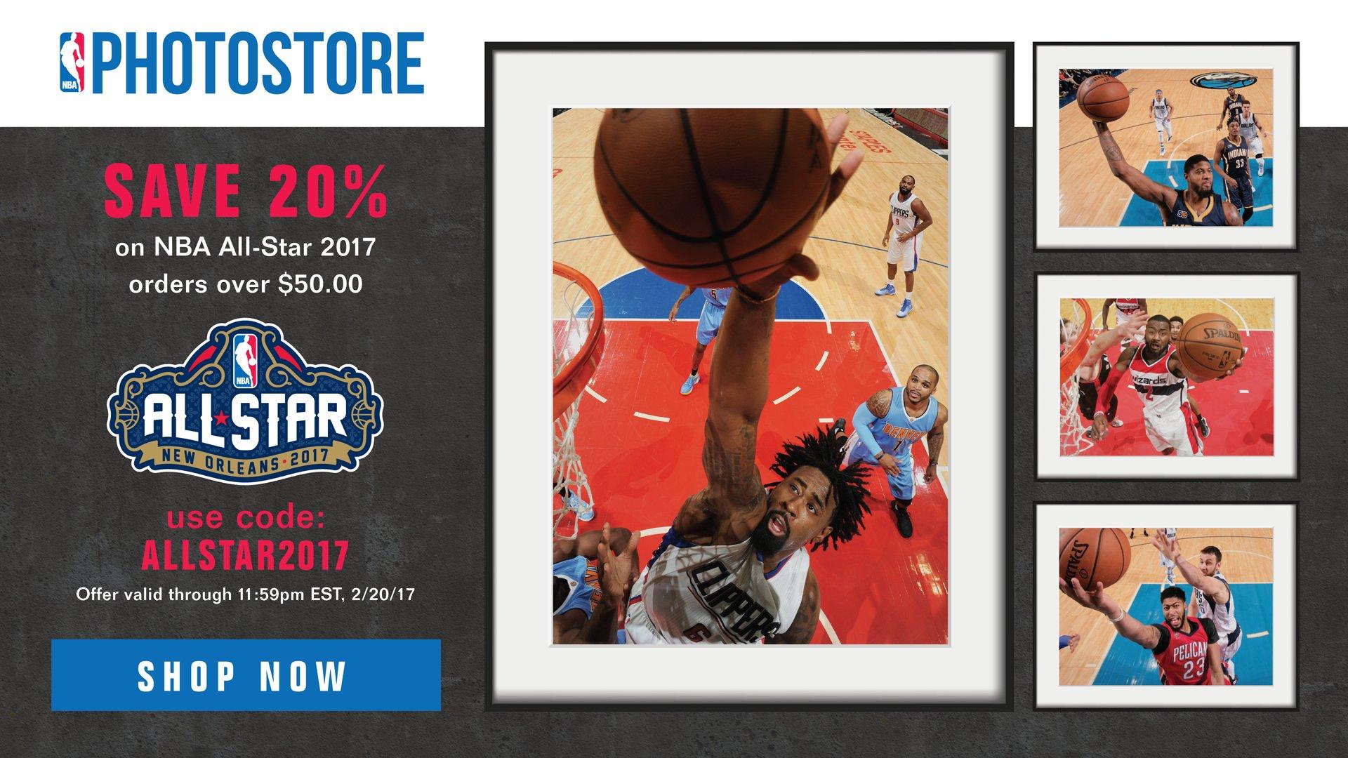 Save 20% on your #NBAAllStar NBA Photo Store orders by using code: ALLSTAR2017 https://t.co/QK3OTGEhW2 https://t.co/1o2b5dkOqN