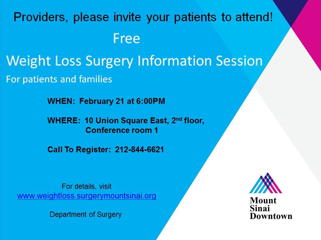Mount Sinai Nyc On Twitter Considering Weightloss Surgery Join Our Free Weight Loss Information Session Tomorrow At 6pm Https T Co Bf5zqi2xt3