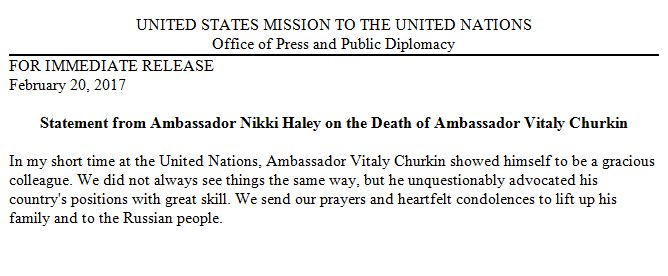 Amb. Haley on death of Amb. Churkin: 'We send our prayers and heartfelt condolences to lift up his family and to the Russian people.'